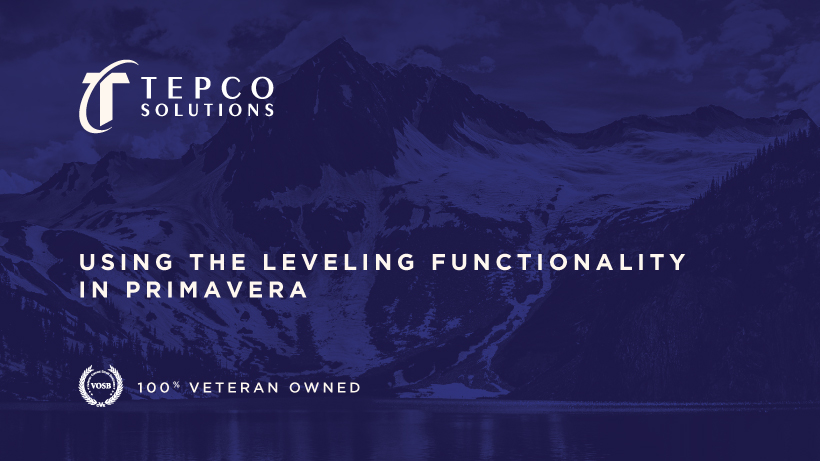 Using the Leveling Functionality in Primavera